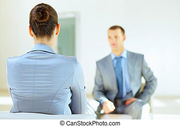 business interview - Job applicant having an interview in...