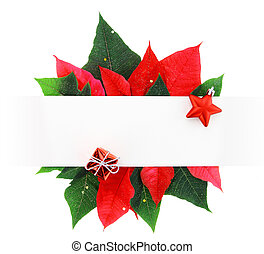 Christmas banner made of poinsettia leaves