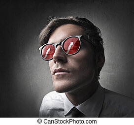 close-up businessman portait with glasses