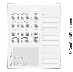 Simple 2013 year calendar, vector illustration.