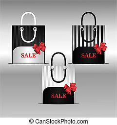 Sale bag - sale, bag, box, black, red, bow, striped,...