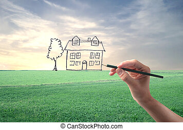 house painting - hand drawing house