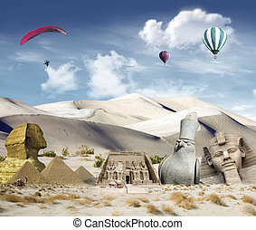 Egyptian landmarks in the desert with hot air balloons and...