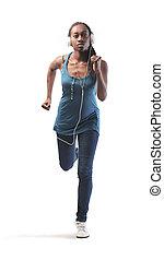Woman running - Black woman running