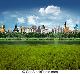 World landmarks - Grassland with llagoon and palm trees with...