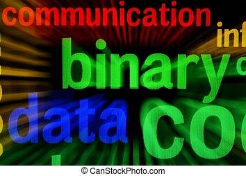 binärer, Schirm, begriff, Daten
