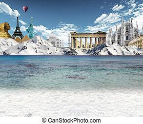 Mountain lake and world landmarks