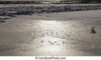 floe floating in water - Partly frozen river Neris in winter...