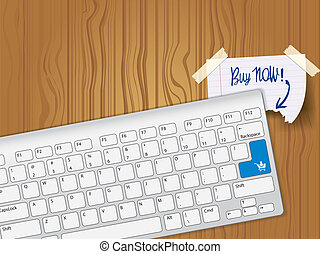 Buy now - blue key computer keyboard