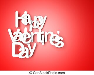 White happy valentines day letters on red background