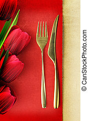 Fork and spoon on vintage menu background