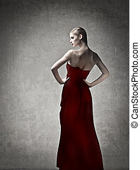 Woman in red dress - Elegant woman in red dress