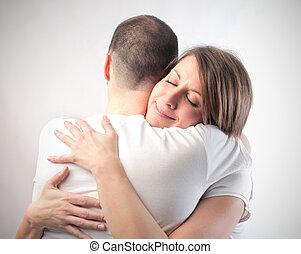 Couple hugging - Hetrosexual couple hugging
