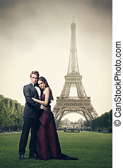 beautiful couple in Paris - beautiful elegant couple with...