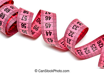Pink measure tape on white background
