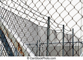 barbed wire and chainlink fence - Rusty barbed wire and...