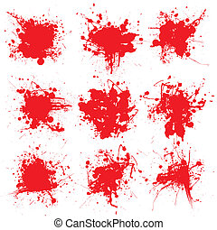 blood splat collect - Collection of nine blood splats on a...