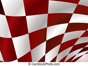 red checker - Red and white checker flag bellowing in the...
