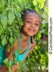 Portrait of a Adorable little African American girl -...