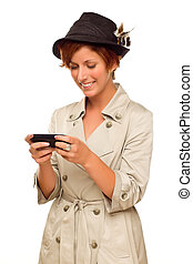 Smiling Young Woman Holding Smart Cell Phone on White