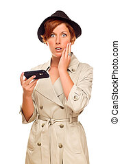 Shocked Young Woman Holding Smart Cell Phone on White