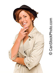 Attractive Red Haired Girl Wearing a Trench Coat and Hat -...