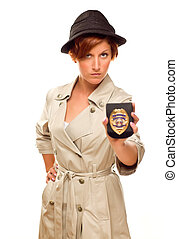Female Detective With Official Badge In Trench Coat on White...