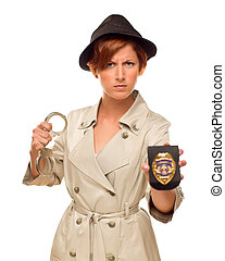 Female Detective With Handcuffs and Badge In Trench Coat -...
