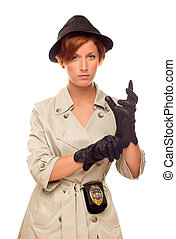 Female Detective With Badge and Gloves In Trench Coat on...