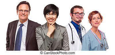Mixed Race Women and Businessman with Doctors or Nurses