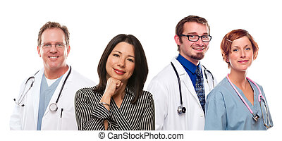 Hispanic Woman with Male and Female Doctors or Nurses