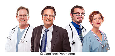 Smiling Businessman with Doctors and Nurses