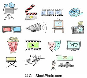Set doodle movie icons isolated on white background