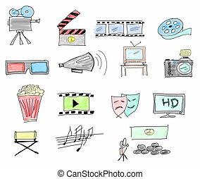 Set doodle movie icons isolated on white background