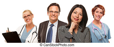 Hispanic Woman with Businessman and Male Doctors or Nurses
