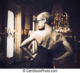 elegant woman in a luxurious house