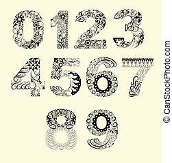 Number floral ornament decoration - Number with beautiful...