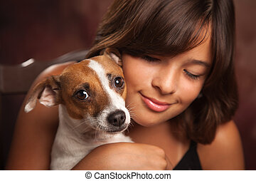 Pretty Hispanic Girl and Her Puppy Studio Portrait - Pretty...