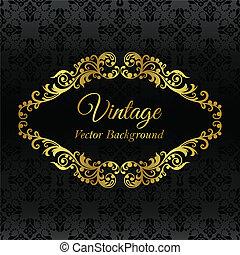 Golden vintage frame on black