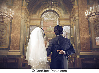 spouses - couple who is getting married in church