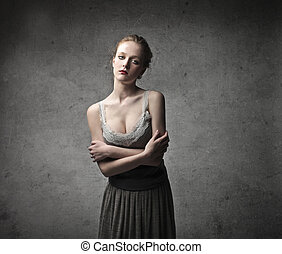 beautiful woman on gray background