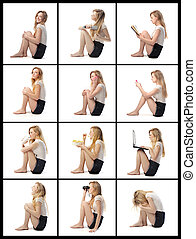 woman expression - young woman with different expressions