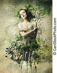 beautiful woman - painting of a beautiful woman