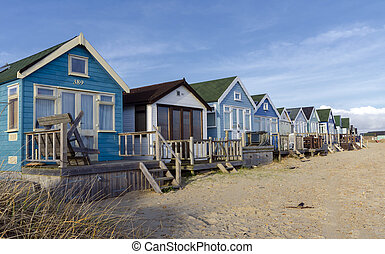 Beach Huts at Mudeford Spit - Beach huts in sand dunes at...