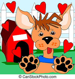Puppy love - Cartoon puppy that is showing a lot of love...