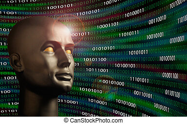Mannequin head monitoring binary code - Mannequin head...
