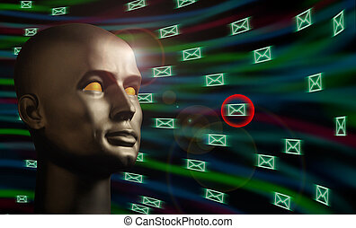 Mannequin head monitoring e-mail messages in cyberspace -...