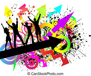 Grunge party - People dancing on colourful grunge background