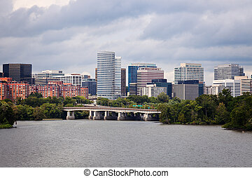 Arlington, Virginia seen with Potomac River from Washington