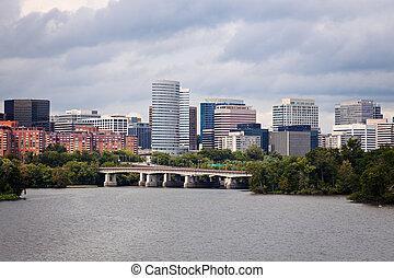 Arlington, Virginia seen with Potomac River from Washington
